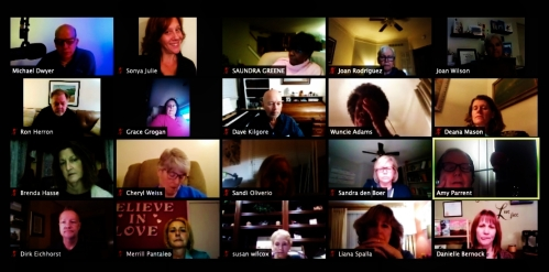 Gallery view of a virtual conference call